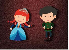 Little princess and guard cartoon character on red background vector