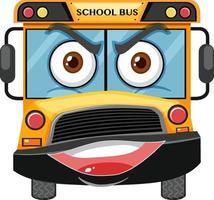 Personaje de dibujos animados de autobús escolar con expresión de cara enojada sobre fondo blanco vector
