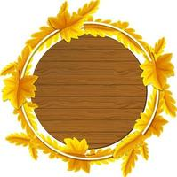 Round autumn leaves frame template vector