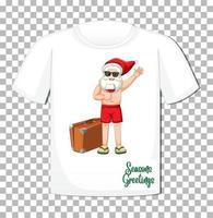 Papá Noel en personaje de dibujos animados de traje de verano en camiseta aislado sobre fondo transparente vector