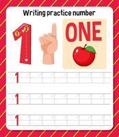 Writing practice number 1 worksheet vector