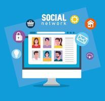 social media, group of people communicating via computer