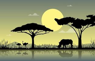 Ostriches and Rhino at Oasis in African Savanna Landscape Illustration vector