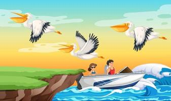 A couple driving speed boat in the beach scene vector