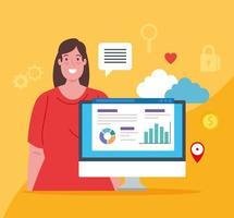redes sociales, mujer con computadora e iconos vector