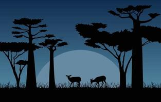 Deer in in African Savanna at Night Illustration