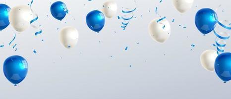 Banner de fiesta de celebración con fondo de globos de color azul. ilustración vectorial de venta. tarjeta de gran inauguración saludo de lujo rico. plantilla de marco.