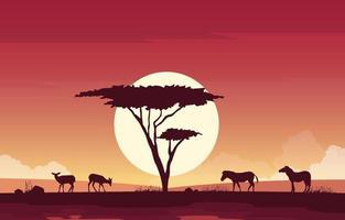 Deer and Zebras in African Savanna Landscape Illustration