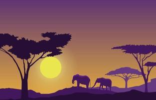 Elephants in African Savanna Landscape During Sunset Illustration