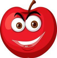 Personaje de dibujos animados de manzana roja con expresión de cara feliz sobre fondo blanco vector