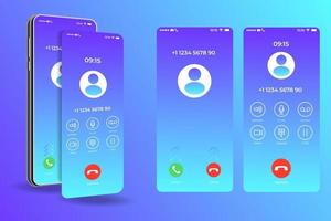 Call screen smartphone interface template, Mobile app design layout, UI for application vector illustration
