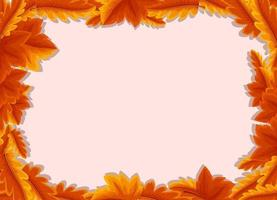 Empty background with autumn leaves frame template vector