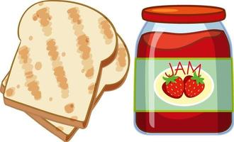 Toast and strawberry jam on white background vector