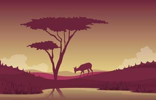 Little Deer Visiting Oasis in African Savanna Landscape Illustration