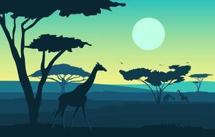 Giraffes in African Savanna Landscape Illustration