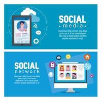 Social media banner set vector