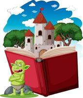 Goblin or troll cartoon character with a story book vector