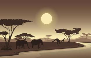 Elephants and Giraffes at Oasis in African Savanna Landscape Illustration vector