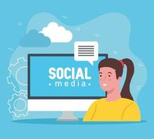 social media letters on the computer with woman talking vector