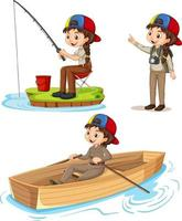 Cartoon character of a girl in camping outfits doing different activities vector