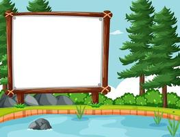 Empty banner in the forest scene vector