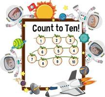 Count to ten number board with many kids in astronaut costumes vector