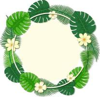 Round tropical leaves frame template vector