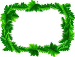 Green leaves frame template vector