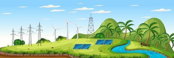 paisaje con turbinas eólicas y escena de células solares. vector
