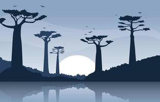 Baobab Trees with Oasis in African Savanna Landscape Illustration