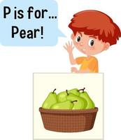 Cartoon character of two kids spelling fruit vocabulary vector