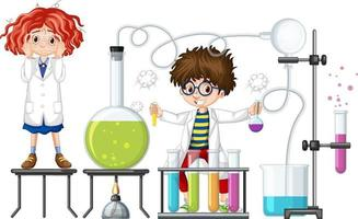 Students experiment with chemistry items vector