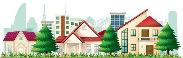 Front of suburban houses on white background vector