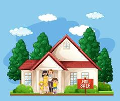 Family standing in front of a house for sale on blue background vector