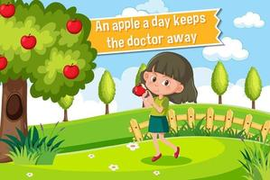 Idiom poster with An apple a day keeps the doctor away vector