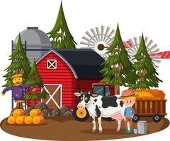 Farmer house with a farmer and farm animals on white background vector