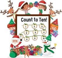 Count to ten number board with many kids in christmas theme vector
