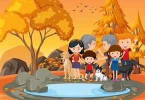 Grandparent and children at the park vector