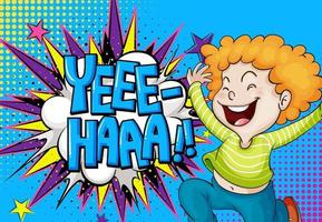 Yeee-haa word on explosion background with boy cartoon character vector