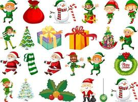 Set of Elves cartoon character and Christmas objects isolated on white background vector