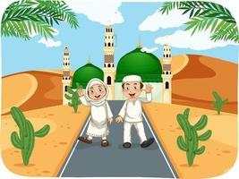 Outdoor scene with muslim boy and girl cartoon character vector
