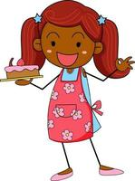 Cute girl holding cake doodle cartoon character isolated vector