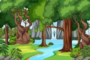 Escena del bosque con cascada y muchos árboles. vector