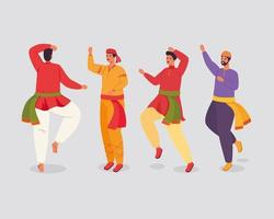 Group of Indian men with traditional clothes dancing vector