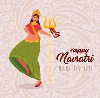 feliz cartel de celebración navratri con mujer bailando con tridente vector