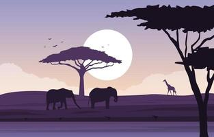 Elephants and Giraffe in African Savanna Landscape vector