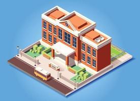 isometric building school vector illustration