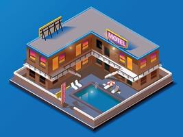 Isometric building. motel with swimming pool vector