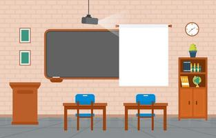 Elementary School Classroom with Desks and Chalkboard Illustration vector