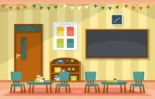 Colorido aula de jardín de infantes o escuela primaria con pupitres y juguetes ilustración